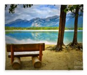 Bench View At Lake Edith Fleece Blanket