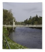 Benches And Suspension Bridge Over River Ness Fleece Blanket