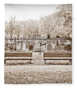 Benches By The Cemetery In Sepia Fleece Blanket