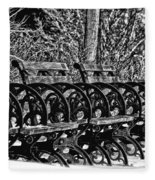 Benches In The Snow - Bw Fleece Blanket