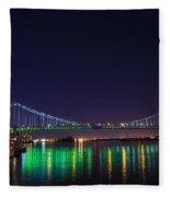 Benjamin Franklin Bridge At Night From Penn's Landing Fleece Blanket