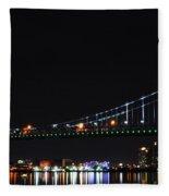 Benjamin Franklin Bridge At Night Panarama Fleece Blanket
