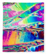 Benzoic Acid Crystals In Polarized Light Fleece Blanket