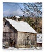 Berkshire Barn In Winter Fleece Blanket