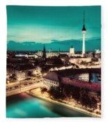 Berlin Germany Major Landmarks At Night Fleece Blanket