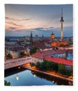 Berlin Germany Major Landmarks At Sunset Fleece Blanket