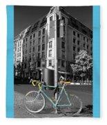 Berlin Street View With Bianchi Bike Fleece Blanket