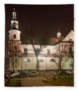 Bernandine Church At Night In Krakow Fleece Blanket