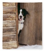 Bernese Mountain Dog At Log Cabin Door Fleece Blanket