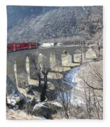 Bernina Express In Winter Fleece Blanket