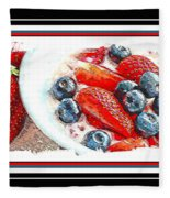 Berries And Yogurt Illustration - Food - Kitchen Fleece Blanket