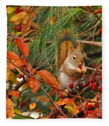 Berry Loving Squirrel Fleece Blanket