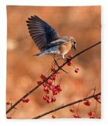 Berry Picking Bluebird Fleece Blanket