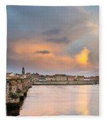 Berwick And Its Old Bridge Fleece Blanket