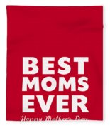 Best Moms Card- Red- Two Moms Mother's Day Card Fleece Blanket