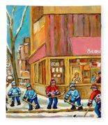 Best Sellers Original Montreal Paintings For Sale Hockey At Beauty's By Carole Spandau Fleece Blanket