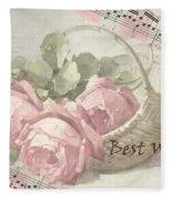 Best Wishes Vintage Roses Card  Fleece Blanket