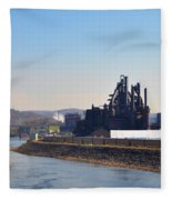 Bethlehem Steel And The Lehigh River Fleece Blanket