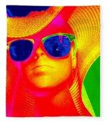Betsy In Blue Sunglasses Fleece Blanket