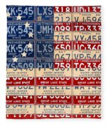 Betsy Ross American Flag Michigan License Plate Recycled Art On Red Board Fleece Blanket