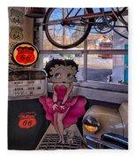 Betty Boop At Albuquerque's 66 Diner Fleece Blanket
