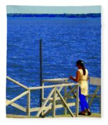 Between Sky And Sea Lachine Canal Viewing Pier Picturesque Water Scenes Montreal Art Carole Spandau Fleece Blanket