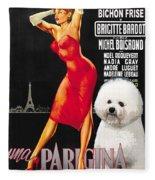 Bichon Frise Art - Una Parigina Movie Poster Fleece Blanket