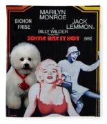 Bichon Frise Art- Some Like It Hot Movie Poster Fleece Blanket