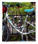 Bicycle At St Francis Cafe Fleece Blanket