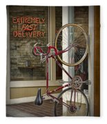 Bicycle Attached To Wall Outside Of Fast Food Restaurant Fleece Blanket