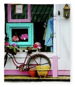 Bicycle By Antique Shop Fleece Blanket