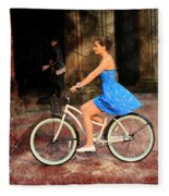 Bicycle Girl 1c Fleece Blanket