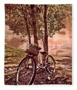 Bicycle In The Park Fleece Blanket