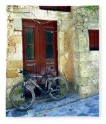 Bicycle Of Santorini Fleece Blanket