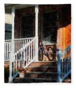Bicycle On Porch Fleece Blanket