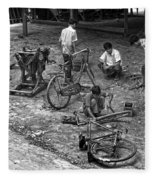 Bicycle Repair In Amarapura Fleece Blanket