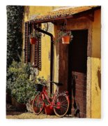 Bicycle Under The Porch Fleece Blanket