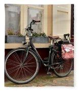Bicycle With Baby Seat At Doorway Bruges Belgium Fleece Blanket