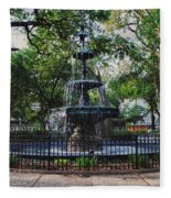 Bienville Square Fountain Closeup Fleece Blanket