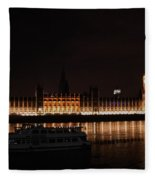 Big Ben And The Houses Of Parliment On The Thames Fleece Blanket