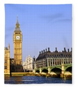 Big Ben And Westminster Bridge Fleece Blanket