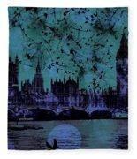 Big Ben On The River Thames Fleece Blanket