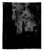 Big Ben Street Black And White Fleece Blanket