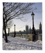Big Ben Westminster Abbey And Houses Of Parliament In The Snow Fleece Blanket