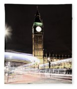 Big Ben With Light Trails Fleece Blanket
