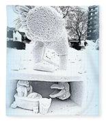 Big Bird Snow Sculpture Fleece Blanket