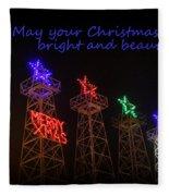 Big Bright Christmas Greeting  Fleece Blanket