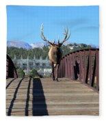 Big Bull On The Bridge Fleece Blanket
