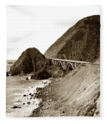 Big Creek Bridge Double Arched Concrete Bridge On Highway 1. About 40 Miles South Of Monterey  1935 Fleece Blanket