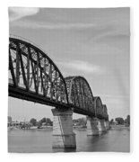 Big Four Bridge Bw Fleece Blanket